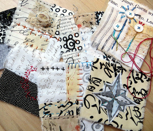 text on textiles in black and white and