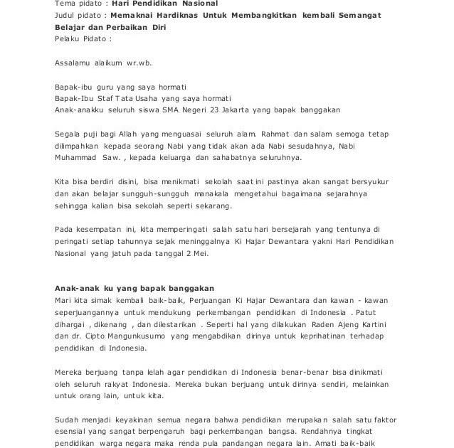 Teks Pembawa Acara Hari Pendidikan Nasional - Kumpulan ...