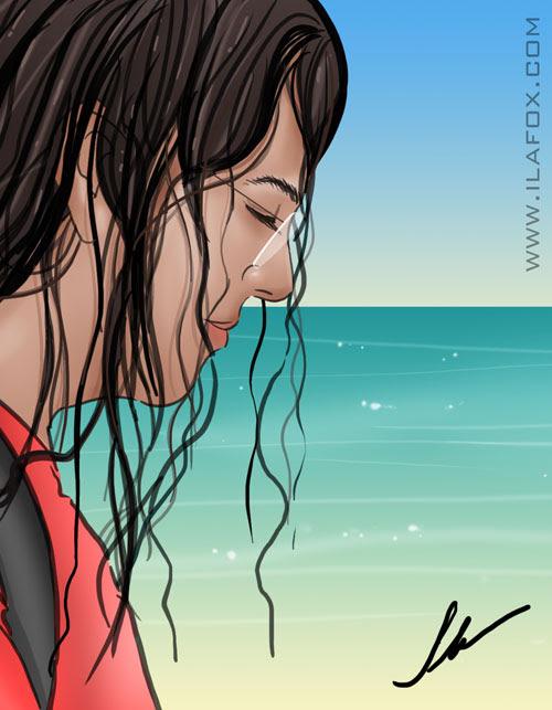 ilustração ricbit andando na praia aniversário by ila fox