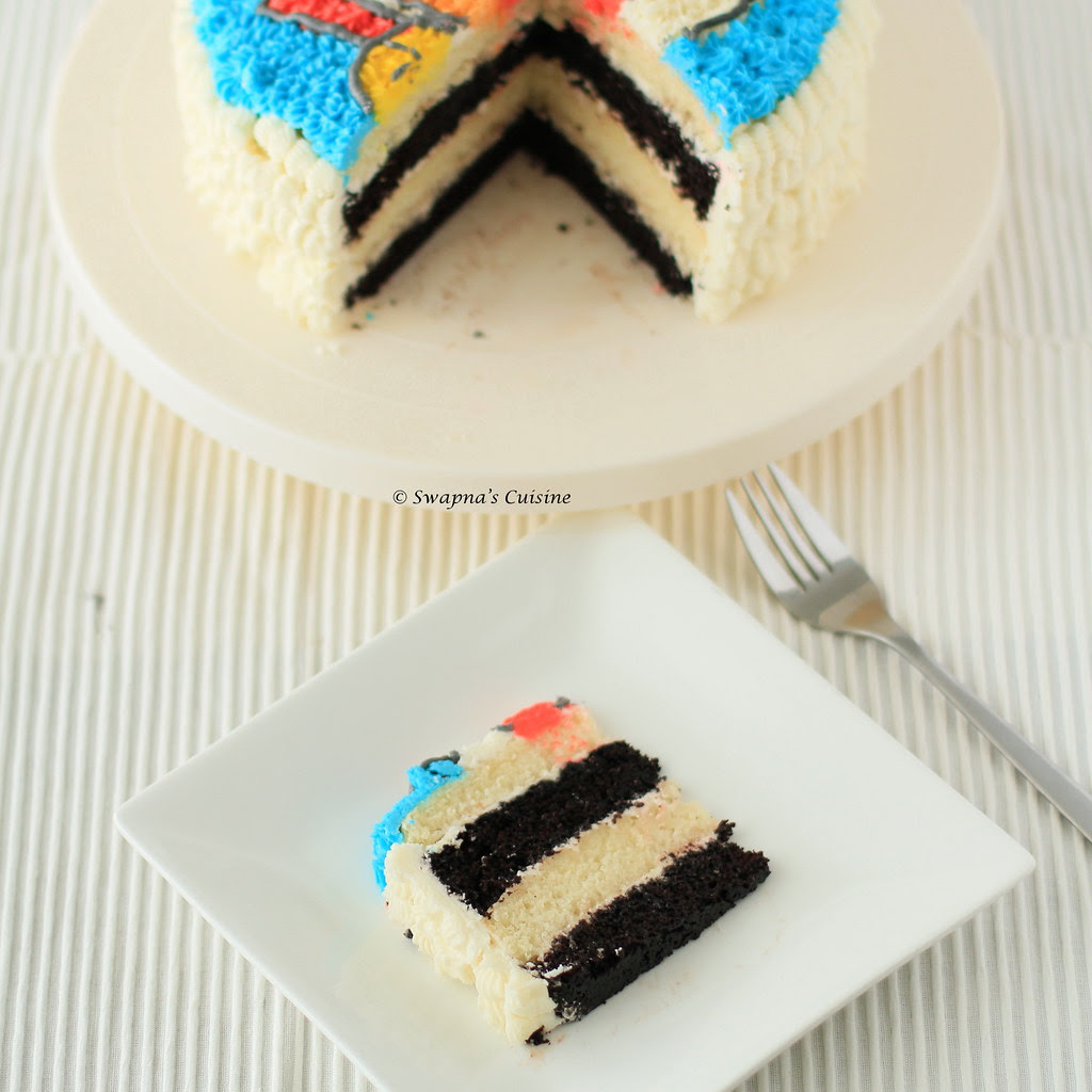 Chocolate and Vanilla Layer Cake with Vanilla Buttercream Frosting