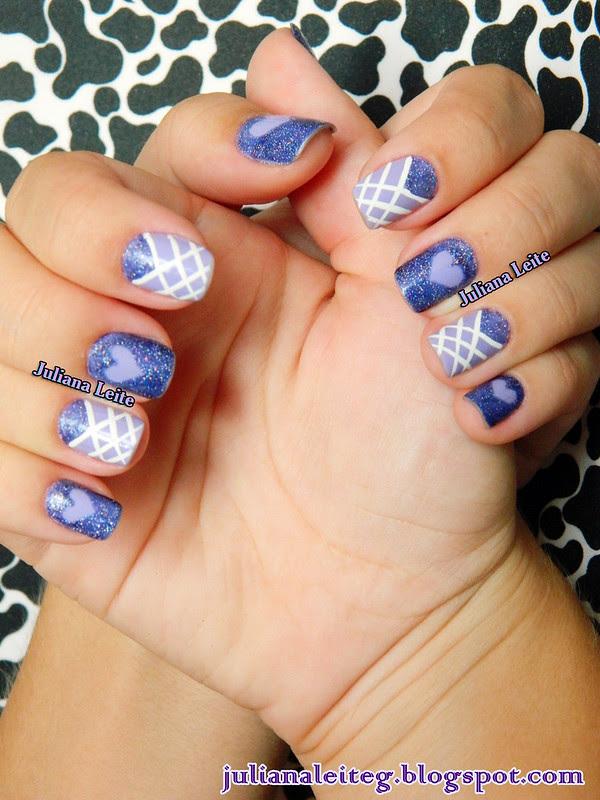 nail art juliana leite lilás amor love coração glitter decorada 028
