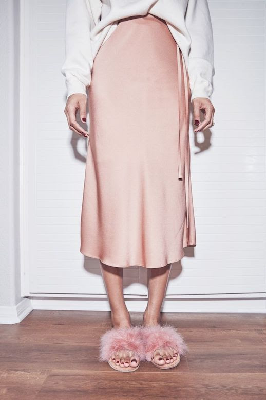 Spring Summer Style Cool Way To Wear Furry Slide Sandals Crewneck Sweater Silk Pink Skirt Via Brother Vellies Le Fashion Blog