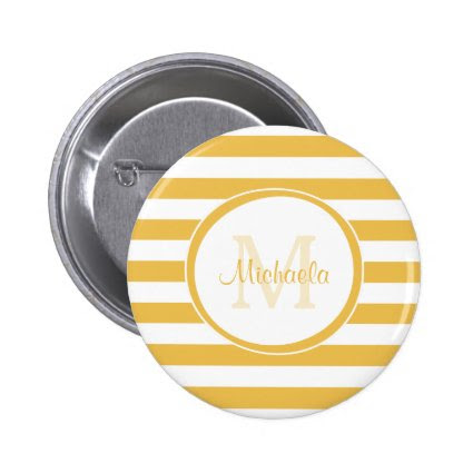 Trendy Yellow White Stripes With Monogram and Name 2 Inch Round Button