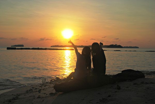 Watch beautiful sunset with my friend