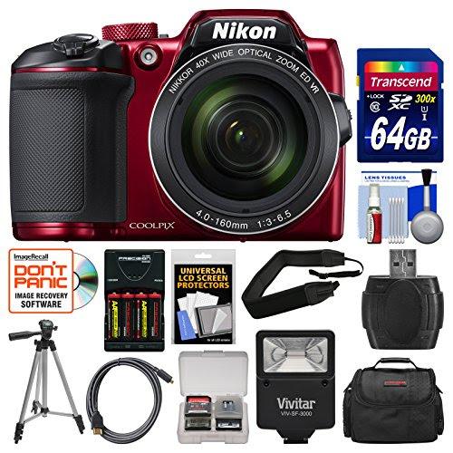 Nikon Coolpix B500 Wi Fi Digital Camera Red With 64gb Card Case