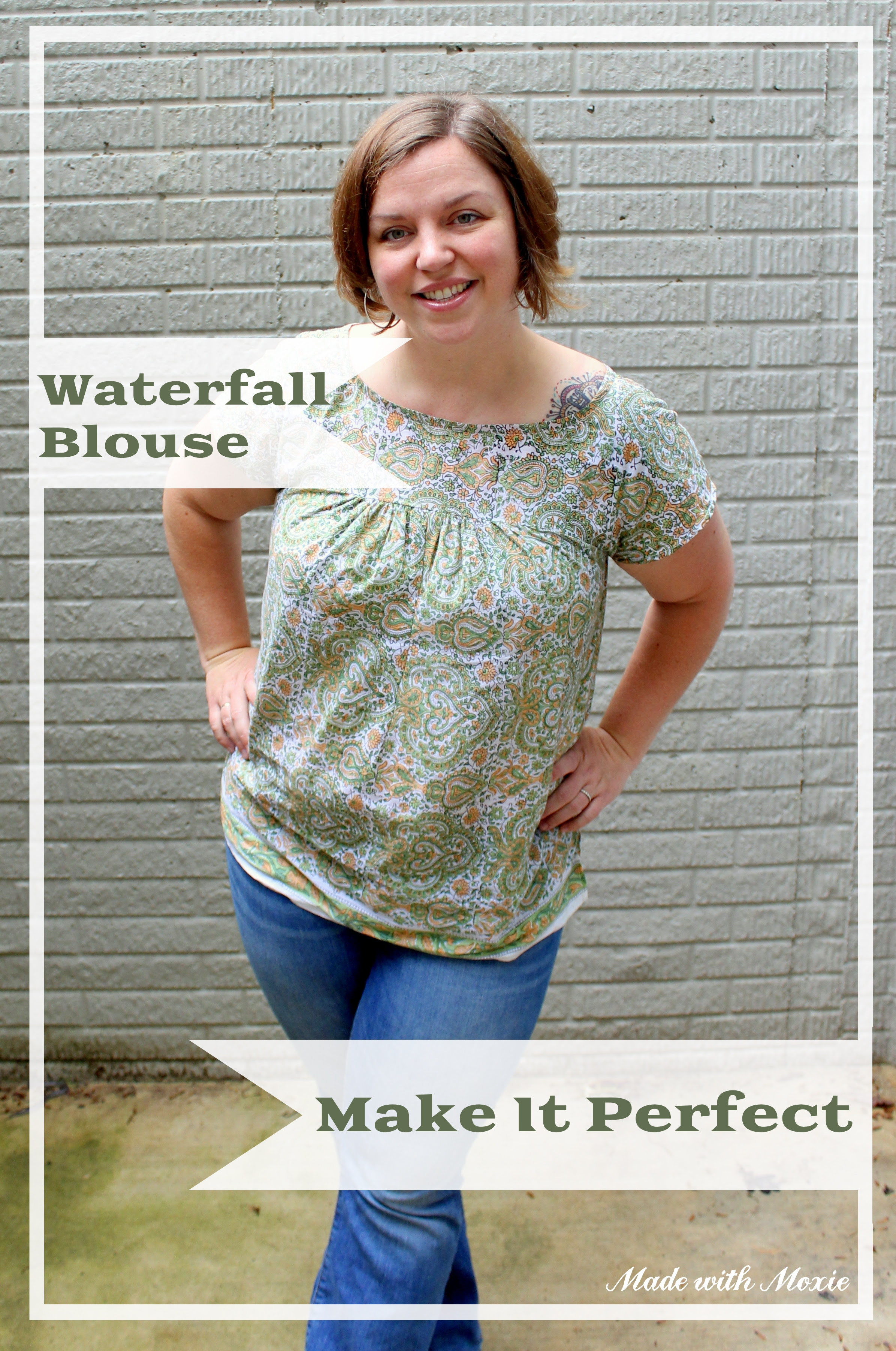 Comfortable, effortless hippie chic woven cotton blouse looks cute with jeans and is a quick, satisfactory sewing project.