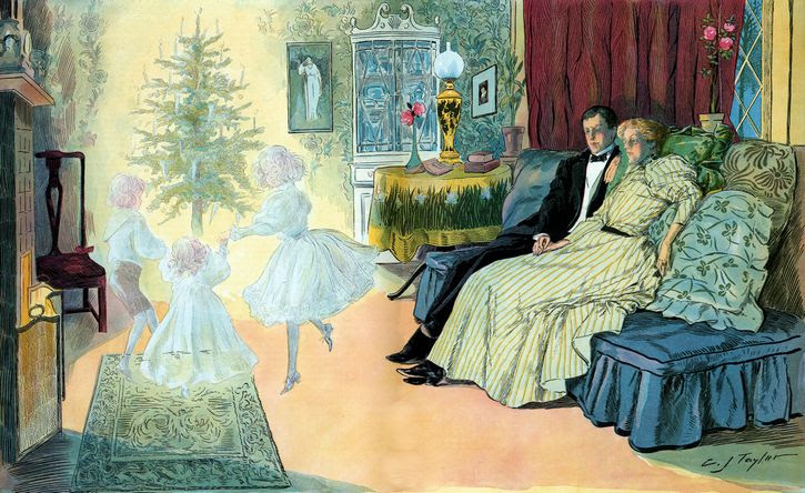 vispera de navidad en el futuro ilustracion