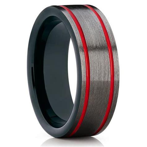 gunmetal tungsten wedding band red tungsten ring mens