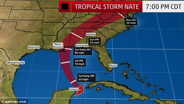 On track: Tropical Storm Nate reached hurricane strength late Friday - prior to arriving on the shores of New Orleans on Sunday