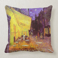 Van Gogh Cafe Terrace at Night Vintage Art Pillow throwpillow