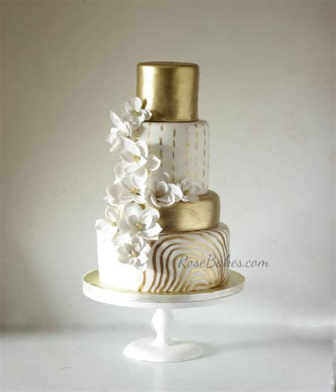 Check out these Trendy Gold Cakes!   Rose Bakes