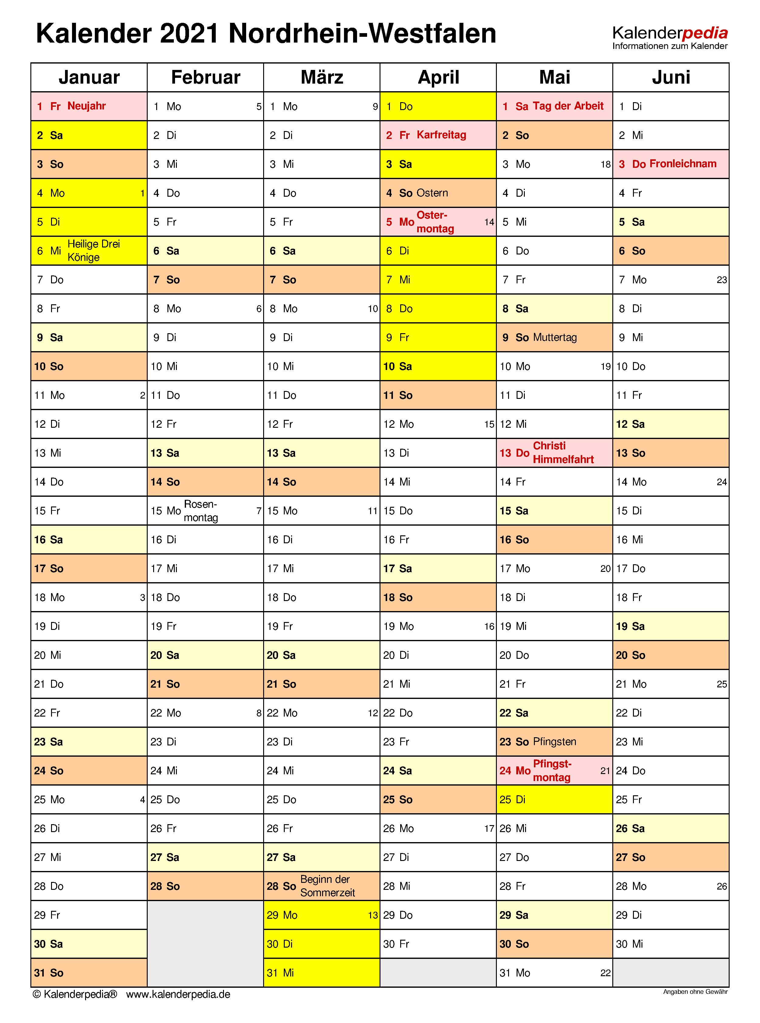 Kalender 2021 Nrw Mit Feiertagen : Jahreskalender Kalender ...