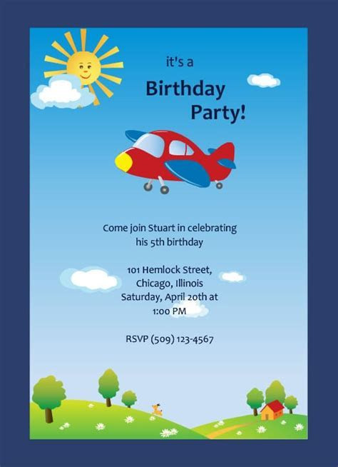 Invitation Card Birthday Party For Boy