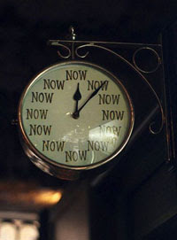 clock showing the time: now