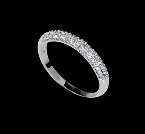Micro Pave Wedding Band Tiny Cubic Zirconia Engagement