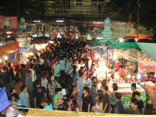 Temple fair crowd