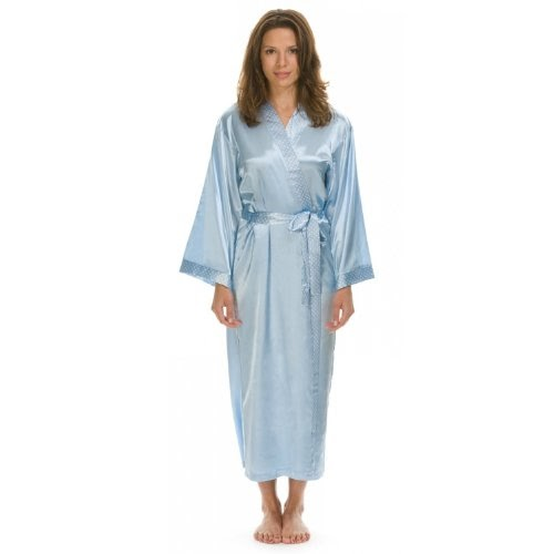 fr acheter lovekimono mai long kimono robe de chambre femme en soyeux satin bleu clair taille. Black Bedroom Furniture Sets. Home Design Ideas