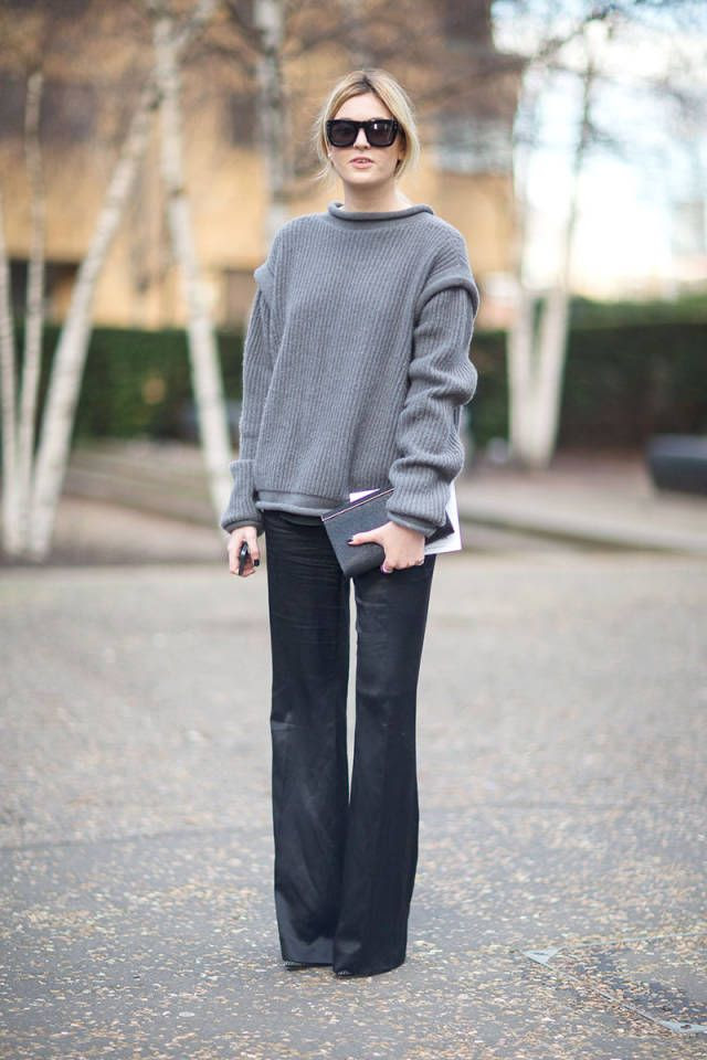 Trousers + a cozy sweater.