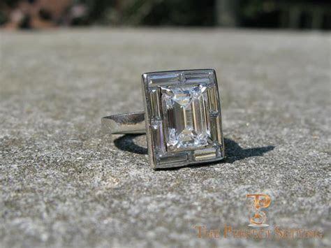 Emerald Cut Diamond Engagement Ring Baguette Halo Setting