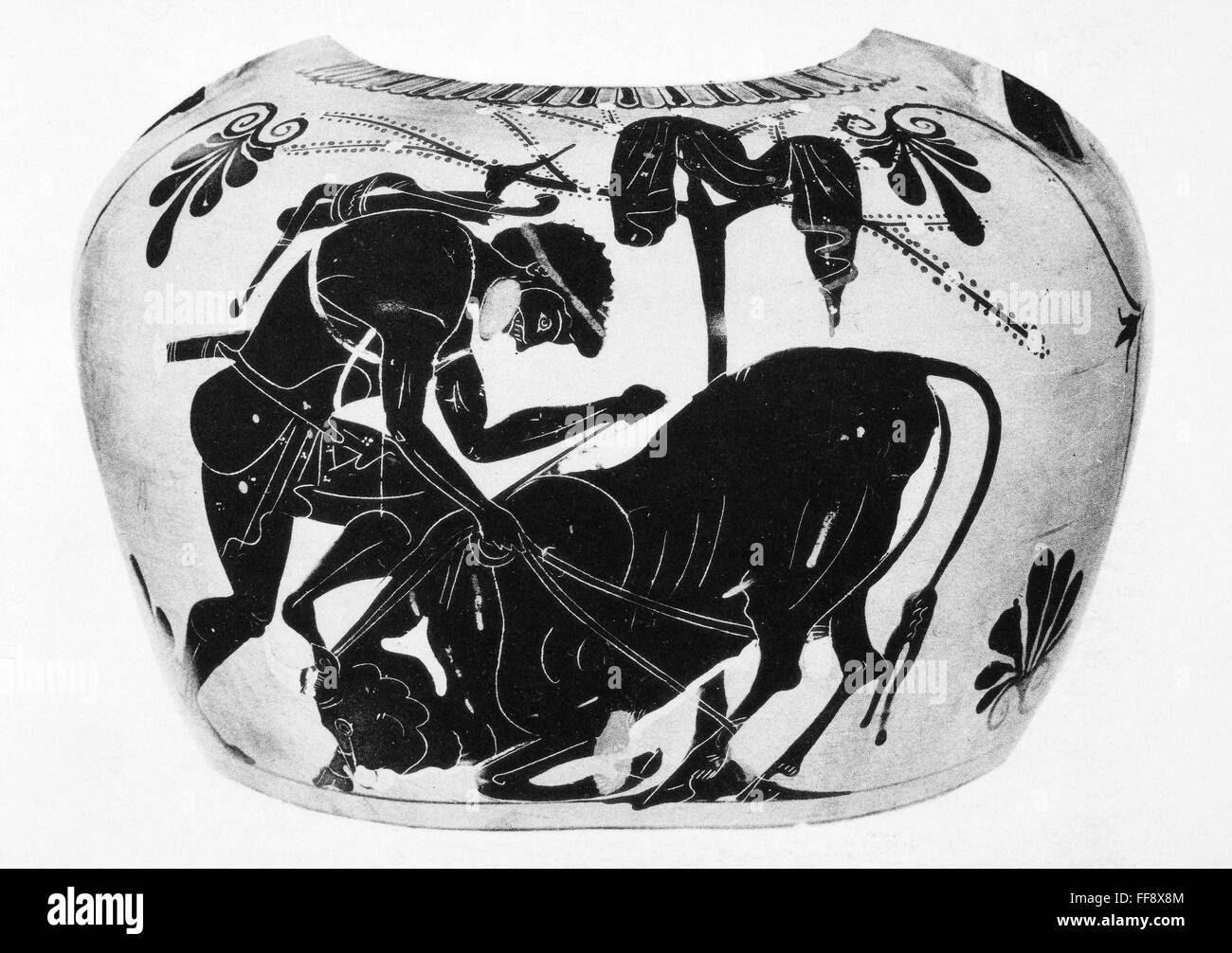 MYTHOLOGY: HERCULES. /nHercules overpowering the Cretan bull. Black-figured Attic vase-painting, c500 B.C. Stock Photo