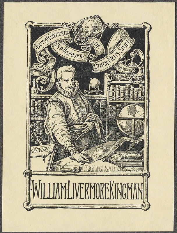 bookplate engraving : renaissance fellow (John Overholt) in library scene; title in ribbons