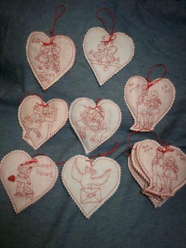 Red Work Valentines