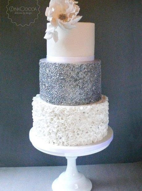 Sliver Sequins And White Ruffles Wedding Cake   Pink Cocoa