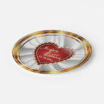 Gold and Red Wedding or Anniversary 7 Inch Paper Plate