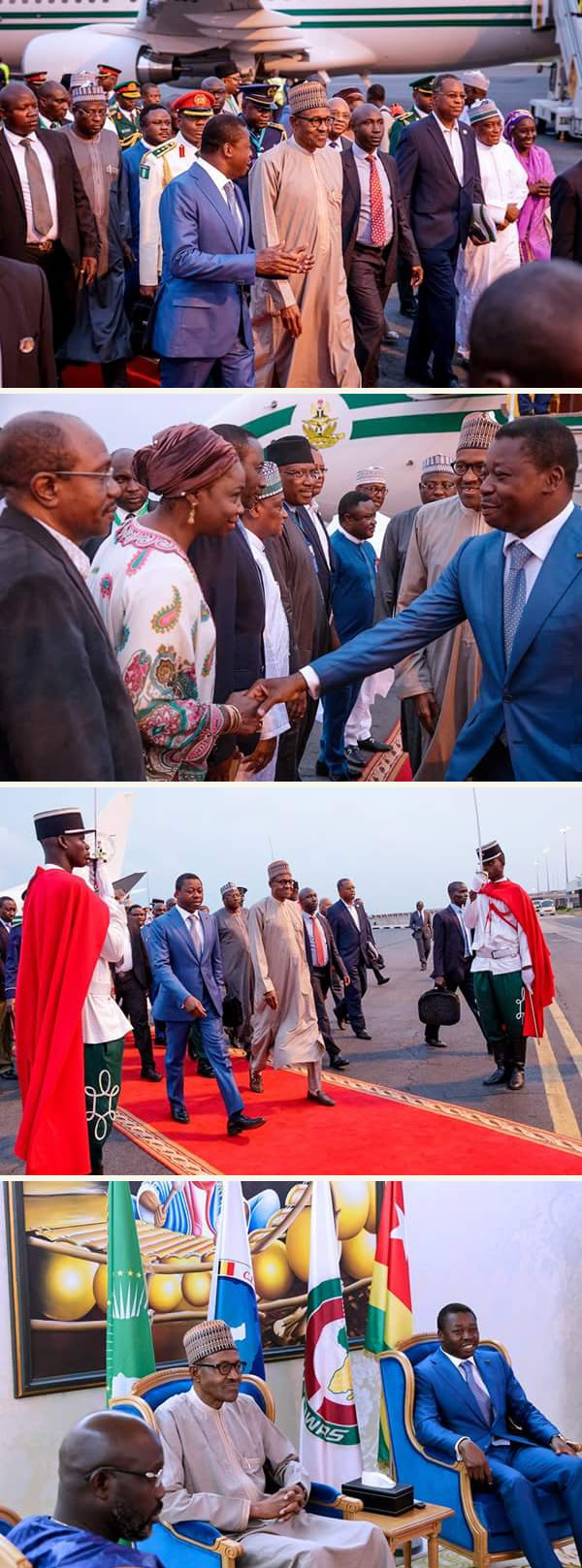 President Buhari Arrives Togo Ahead Of ECOWAS-ECCAS Summit (Photos)