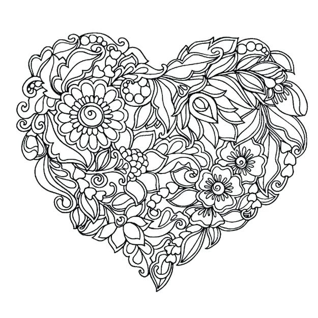 Heart Coloring Pages For Adults at GetDrawings | Free download