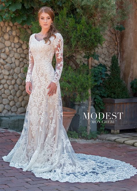 Conservative Long Sleeve Tulle & Beaded Lace Fit & Flare