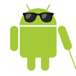 Logotipo de Android con gafas oscuras y bastón
