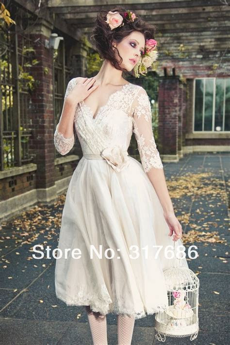 tea length wedding dress with sleeves (4)   Wedding