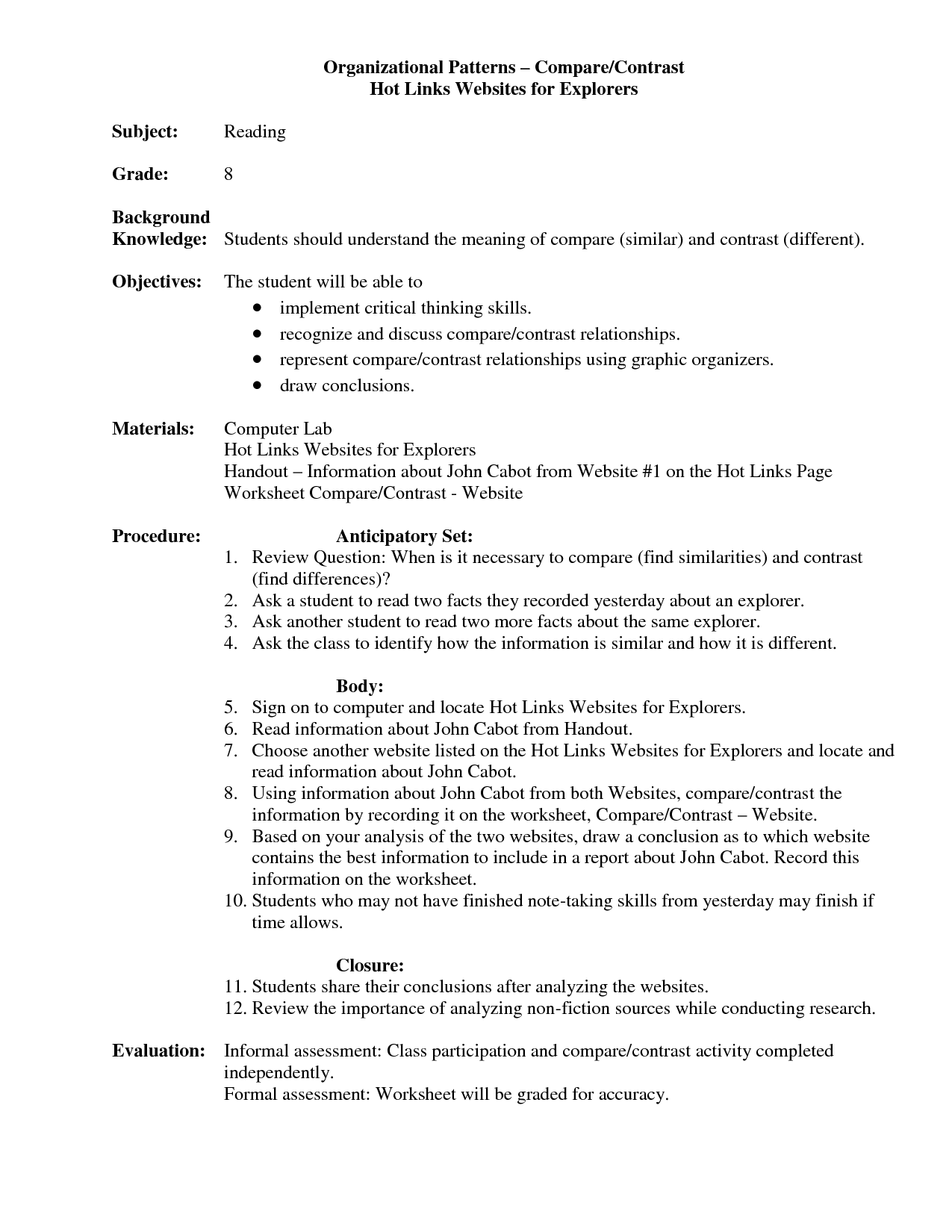 how to write compare and contrast essays graphic organizer
