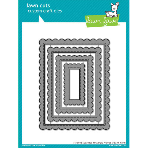 Lawn Fawn Stitched Scalloped Rectangle Frames Lawn Cut (LF1719)
