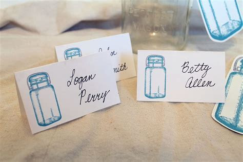 Mason Jar Wedding Place Cards & Table Numbers   The