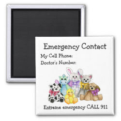 Babysitter's Emergency Contact Magnet magnet