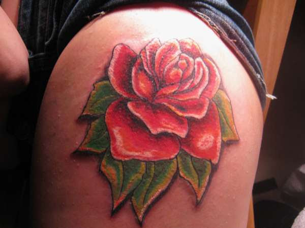 Rose On Upper Thigh Tattoo