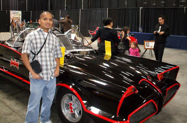 Posing in front of the Batmobile from the 1960s BATMAN TV show. (AGAIN with people not knowing how to take pictures...)
