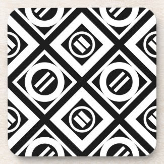 White Equal Sign Geometric Pattern on Black Coasters