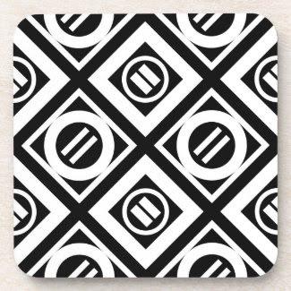 White Equal Sign Geometric Pattern on Black Coasters