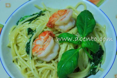 Resep spagetti scampi e spinachi ala vapiano