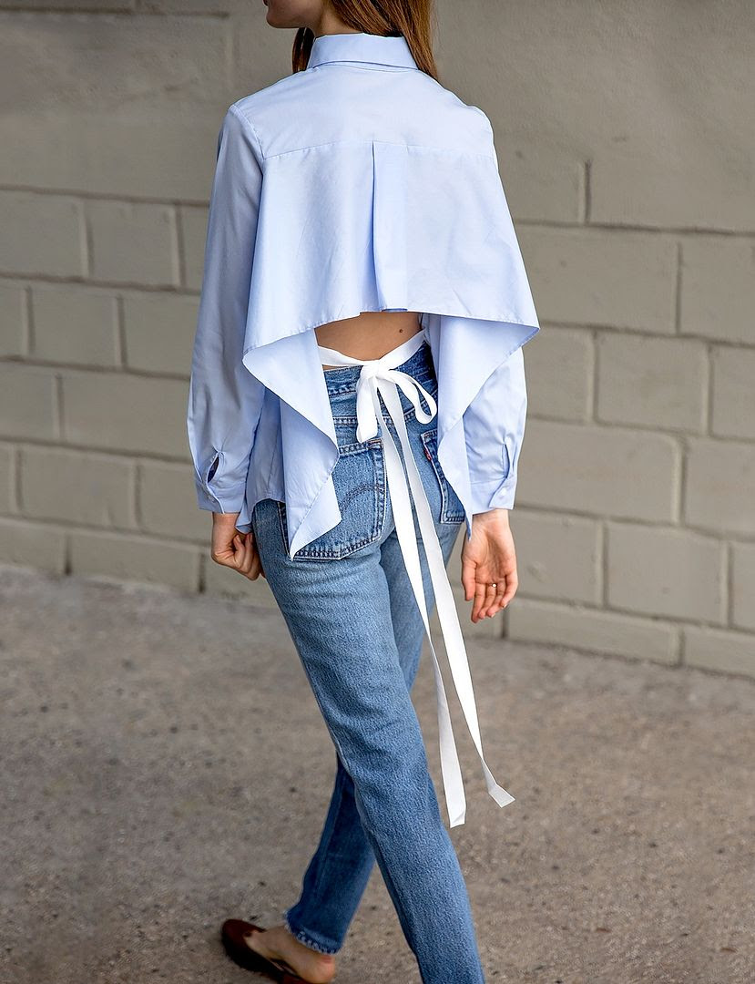 Le Fashion Blog Blue Tie Back Shirt Levis Jeans Brown Shoes Via Pixie Market
