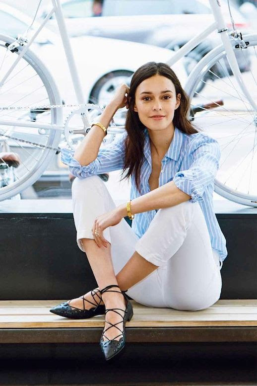 Le Fashion Blog Rolled Up Blue Striped Button Down Shirt Gold Cuff Bracelets  Cropped White Flared Jeans Pointed Toe Black Lace Up Shoes Via Hello/J.crew