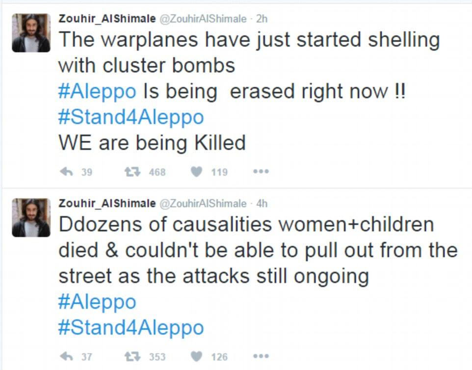 Um ativista preso em um rebelde área realizada de Aleppo descrito dezenas de vítimas, como o bombardeio continuou esta manhã