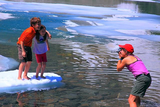 IMG_1251 Kids on an Iceberg, Iceberg Lake, Glacier National Park