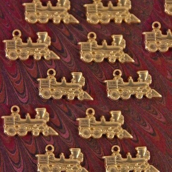 TRANSPORTATION- 12 Tiny Brass Train Charms