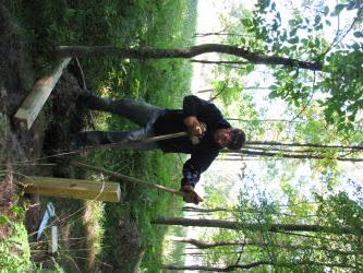 digging post holes for Sterling Marsh Boardwalk