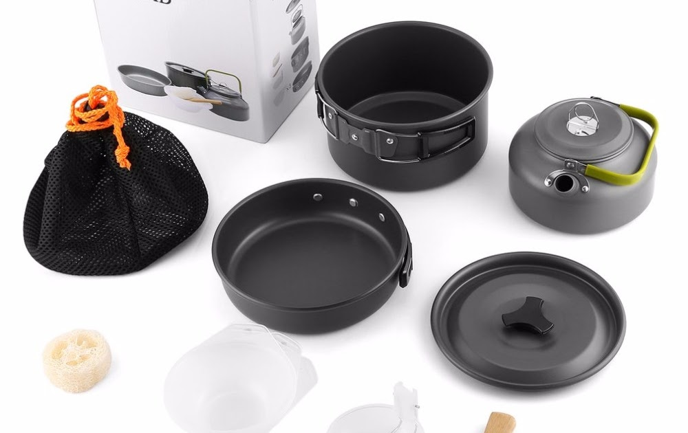 Camping & Hiking Boruit Ultralight Camping Cookware Utensils Outdoor Tableware Set Hiking Picnic Backpacking Camping Tableware Pot Pan 1-2persons Sports & Entertainment