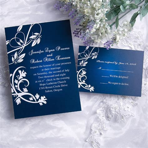 Cheap Classic blue damask wedding invitations with